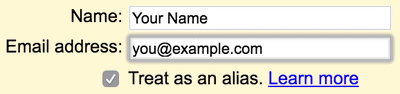 Entering information about another email address to Gmail