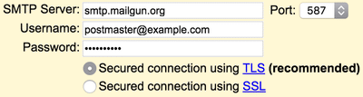 Providing SMTP credentials for your new email address to Gmail
