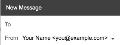 Composing a new Gmail message sent from a custom email address