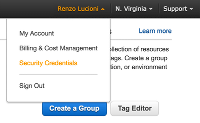 Navigating AWS menu to the security credentials page