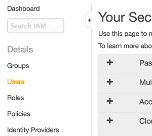 Link in the security credentials sidebar to IAM users section