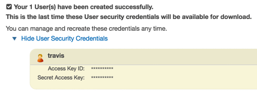 Credentials shown once for a new user
